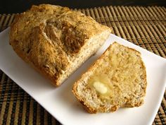 Irish Soda Bread for this St. Patrick's Day! Made St Patrick's Day 2012, it took me all of 10 minutes to put together AND clean up! I added 1/2 tsp of baking powder and used all whole wheat flour. It was heavy but super wonderful with real butter and honey!