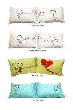 couple pillow cases craft-ideas- would be cute to keep one and give him the other Sewing Crafts, Sewing Projects, Diy Projects, Diy Crafts, Pillow Case Crafts, Pillow Cases, Cover Pillow, Bed Pillows, Cushions