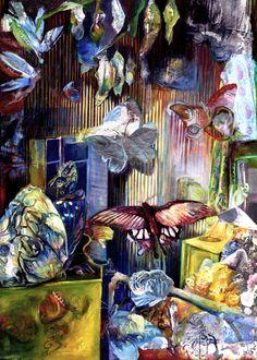 Gabriele Strehlau, Zeit für Lepidoptera, Collage Öl auf Nessel, 70 x 50 cm, 2005, unverkäuflich