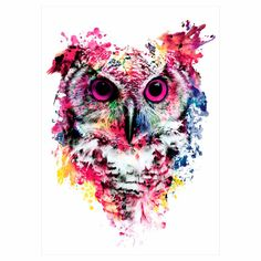 1 Sheet Colorful Drawing Temporary Tattoo Women Men Body Art Catoon Owl Decal Design KM-014 Waterproof Tattoo Sticker Watercolor (2)
