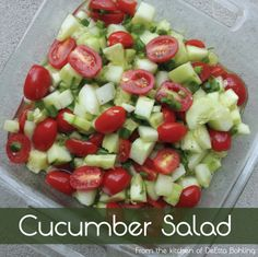 Cucumber, onion and tomato salad. Perfect for a summer side dish!