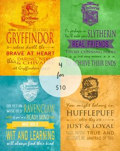 Harry Potter Hogwarts Houses Set of 4 Instant by MilkPrints, $10.00