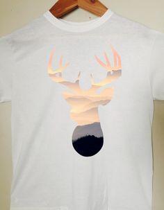 196cabe65cd27 Deer Head T-Shirt Deer Head Silhouette by BlackCatPrints on Etsy Deer Head  Silhouette,