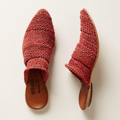 ORIENT MULES -- A sculptural silhouette and supple, woven uppers give all-day comfort and artisan style. By CYDWOQ. Leather. USA. Euro whole sizes 36 to 41. 36 (US 6), 37 (US 7), 38 (US 8), 39 (US 9), 40 (US 10), 41 (US 11).