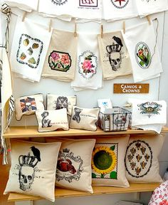 Cameos & Crowns flour sack towels, canvas pillows and zip pouches at the NY Gift Show