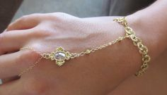Gold chain with clear glass crystal charm hand by PanachebyAmanda, $40.20