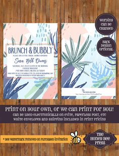 Brunch and Bubbly Shower invitation - Bridal Shower - Bridesmaid Luncheon - Modern Tropical Bridal Shower Invitation -Item 0360 Size: 5 x 7 Wording CAN BE CHANGED to best suit your event. Colors CAN BE CHANGED for a $5 fee - please purchase this listing as well if you would like your colors to be customized https://www.etsy.com/listing/182643158/customize-your-invitation-color-the *************************************************************** This listing is for ...