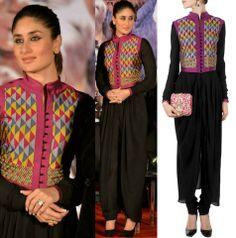 GET THIS LOOK: Kareena Kapoor looks stunning in the black cowl draped waistcoat kurta set by Payal Pratap.  Shop at http://www.perniaspopupshop.com/designers-1/payal-pratap/payal-pratap-black-cowl-draped-kurta-set-with-waist-coat-pypc0114i69.html