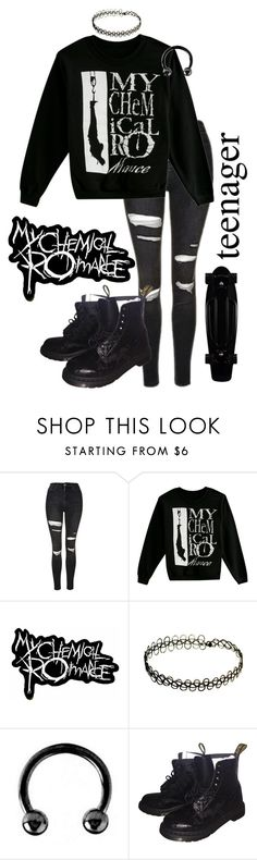 """MCR"" by xxonyx-lightwaterxx ❤ liked on Polyvore featuring Topshop, Urbiana and Dr. Martens"