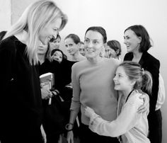 A wonderful picture of Phoebe Philo and her daughter chatting with Delphine Arnault backstage at the Céline show