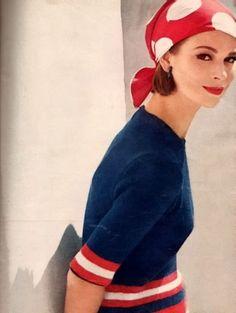 Vintage Vogue Nautical Striped Sweater by AuthenticIrish, Moda Retro, Moda Vintage, Retro Vintage, 60 Fashion, Retro Fashion, Fashion Bags, Vintage Vogue, Vintage Glamour, Retro Mode