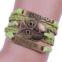 Bracelet - Green Infinity Dream Love Anchor Leather Owl Charm Bracelet