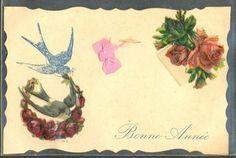 GY018-CHROMO-Decoupis-HIRONDELLES-SWALLOW-ROSES-RUBAN-Bonne-Annee