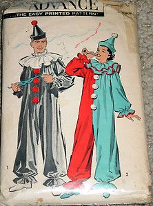 Vintage Halloween Ephemera ~ Advance Clown Costume Pattern
