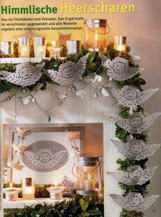 Galeria rozmaitości: Wzory szydełkowe-Boże Narodzenie Christmas Crochet Patterns, Crochet Christmas Ornaments, Holiday Crochet, Crochet Patterns Amigurumi, Christmas Angels, Christmas Crafts, Filet Crochet, Crochet Diagram, Crochet Motif