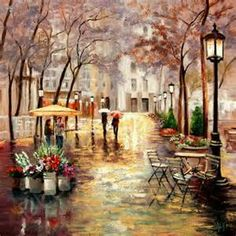 paintings of paris in the rain - Yahoo Image Search Results