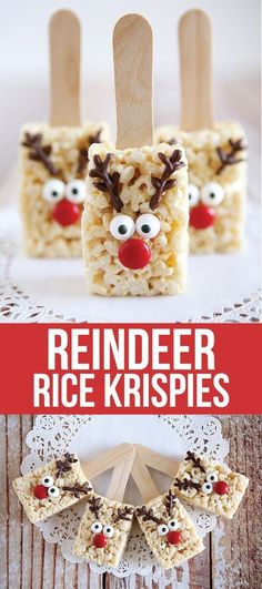 21 Christmas Party Ideas for Kids Reindeer Rice Krispies Treats
