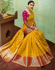 Buy Yellow-Pink Colored Designer Festive Wear Banarasi Silk Saree at Rs. Get latest Festive Wear Saree for womens at Peachmode.