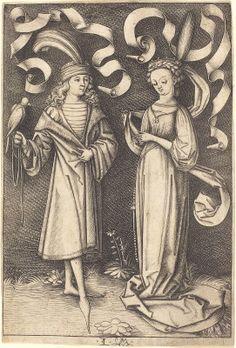 Meckenem, Israhel van German, c. 1445 - 1503 The Falconer and Noble Lady c. 1495/1503