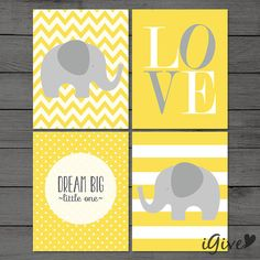 Neutral Nursery Elephant Print 4 pieces Yellow / Neutral Nursery / Dream Big / Instant Download / Instant Download