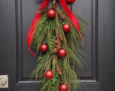 Christmas Swag Wreath, Swag for Door, Christmas Wreath, Decorative Swag, Holiday Swag Wreath, Teardrop Wreath, Alternative Christmas Wreath
