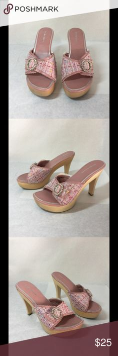 """Delicious Pink Slip On Heels Sz. 8 These are very cute heels. They are a women's size. 8. They do have a slight mark on them. Please see all photos. The heels are 4.5"""" tall. Please let me know if you need more information. Delicious Shoes Heels"""