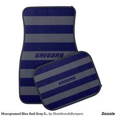 Monogramed Blue And Gray Stripes Car Mat