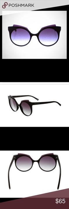 Marc Jacobs Gradient Cat-Eye Sunglasses Black resin Marc Jacobs gradient cat-eye sunglasses with black gradient lenses and silver-tone logo details at temples. Includes case and dust cleaner. Frame Height: 2.25 inches. Frame width: 5.25 inches. Only worn a couple of times. Marc Jacobs Accessories Sunglasses