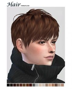 Retexture of ryuffys short layered hair at ShojoAngel • Sims 4 Updates