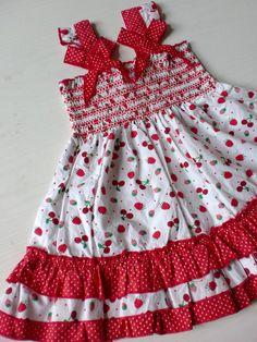 NEU kleid erdbeere 98 rot schleife retro