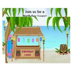 Luau Birthday Party Invitations Personalized Luau Girls Beach Birthday Invitation