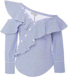 f15eb12a Self Portrait Ruffled Striped Cotton-Poplin Top Ruffle Top, Ruffles, Winter  Wardrobe,