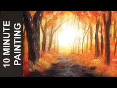 Painting a Misty Autumn Forest Landscape with Acrylics in 10 Minutes! Canvas Painting Tutorials, Acrylic Painting Techniques, Painting Videos, Forest Painting, Autumn Painting, Autumn Forest, Autumn Art, Autumn Trees, Landscape Paintings