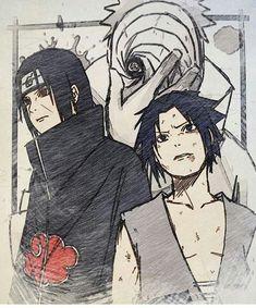 Itachi, Obito and Sasuke Anime Naruto, Art Naruto, Naruto Sketch, Naruto Drawings, Naruto Shippuden Anime, Manga Anime, Sasunaru, Itachi Uchiha, Naruto Sasuke Sakura