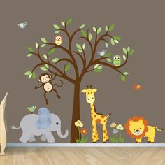 Gender Neutral Wall Decal Safari Wall Decal Tree Wall Decal Nursery Wall Decor Jungle Animal wall decal Evergreen Citrus Design & Jungle Nursery DecalsTree Wall Decalmonkey wall decal lion decal ...