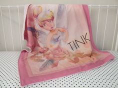 Pink, Cream Roses Baby Girl Crib Cot Blanket made from Disney Tinker Bell Fairy Fabric with Pink Minky Backing