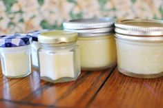 Homemade Body Butter  1/2 cup cocoa butter    1/2 cup coconut oil (unrefined)    1/4 cup apricot or almond Oil (I used apricot kernel oil)    2 tsp grated beeswax    10,000 IU of Vitamin E oil (from capsules)    Stir over low heat until mixed and pour into jars. You could also add herbs or essential oils if you want, but the cocoa butter gives it a nice chocolatey scent which I like.