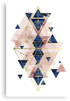 'Blush Pink and Navy Geometric Perfection' Canvas Print by UrbanEpiphany,