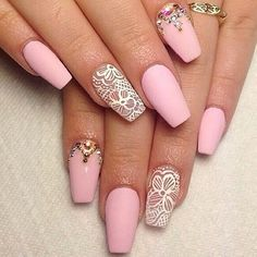 Matte baby pink & white lace nails
