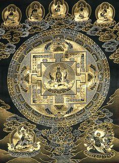 tibetan buddhist thangka black white - Google Search