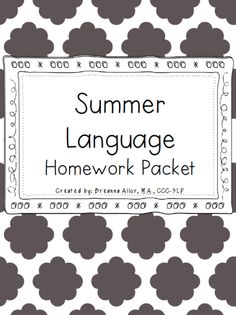 Summer language homework packet AND summer articulation homework packet. Perfect for preschoolers and kindergarteners. Also perfect for students working on /t/, /d/, /k/, /g/, and/or /f/. Check it out!