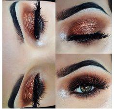 Burnt orange smokey eye I love the brows