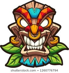 Buy Tiki Mask by memoangeles on GraphicRiver. Cartoon colorful tiki mask with leaves. Vector clip art illustration with simple gradients. All in a single layer. Totem Tattoo, Tiki Tattoo, Cartoon Cartoon, Cartoon Kunst, Cartoon Faces, Art And Illustration, Graffiti Drawing, Graffiti Art, Art Drawings