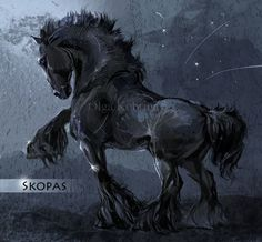 Old Scythian War Horse, a pretend breed of horse made up by an artist, who… Creature Drawings, Horse Drawings, Animal Drawings, Mythical Creatures Art, Fantasy Creatures, Spiritual Animal, Horse Armor, Unicorn Art, Equine Art