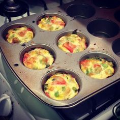 Perfect protein fuel for a pre or post-workout snack, or for just curbing hunger in a healthy way!  INGREDIENTS 2 cups vegetables of choice, chopped (I used tomato, celery, spinach and peppers) 1 egg 1/2 cup egg whites PROCEDURE Spray half of muffin tin with olive oil cooking spray. Put in mixed vegetables of your choice to fill tins about 1/2 way. Beat egg and whites together, and pour mixture into tins, filling 2/3 of the way up. Bake at 375F for 12-15 minutes.