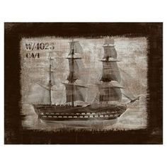 Gallery-wrapped giclee print of a frigate under sail.     Product: Wall artConstruction Material: Canvas and MDFFeatures: Ready to hangDimensions: 12 H x 40 W