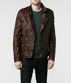 Homme Callerton Leather Biker Jacket (Oxblood) | ALLSAINTS.com