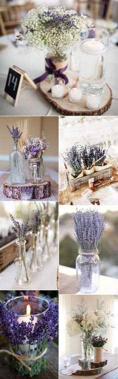 schicke Lavendelhochzeits-Mittelstückideen