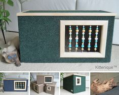 Indoor cat house. https://www.etsy.com/listing/224549151/green-beaded-cat-house-wooden-cat?ref=listing-shop-header-3