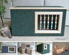 Handmade wooden cat house. https://www.etsy.com/shop/Kittenique?ref=l2-shopheader-name